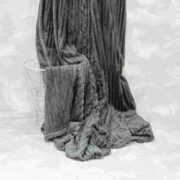 Плед-покривало Viluta Флісове Bamboo Line Темно-сіре 200х230 см (172108)