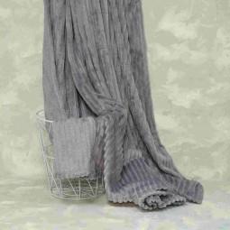 Плед-покривало Viluta Флісове Bamboo Line Сіре 200х230 см (172103)