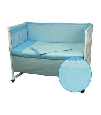 Захисний борт на ліжечко Руно Блакитний з мереживом 60x120 см (922КУ_Блакитний)